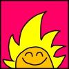 ראש של דמות מצוירת מחייך עם פנים כתומות ושיער צהוב ארוך שדומה לשמש שזורחת על רקע ורוד חזק