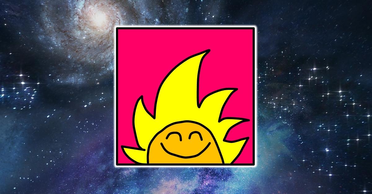 לוגו ימים מיוחדים מרחף בחלל. לוגו ימים מיוחדים הוא ראש של דמות מצוירת מחייך עם פנים כתומות ושיער צהוב ארוך שדומה לשמש שזורחת על רקע ורוד חזק.