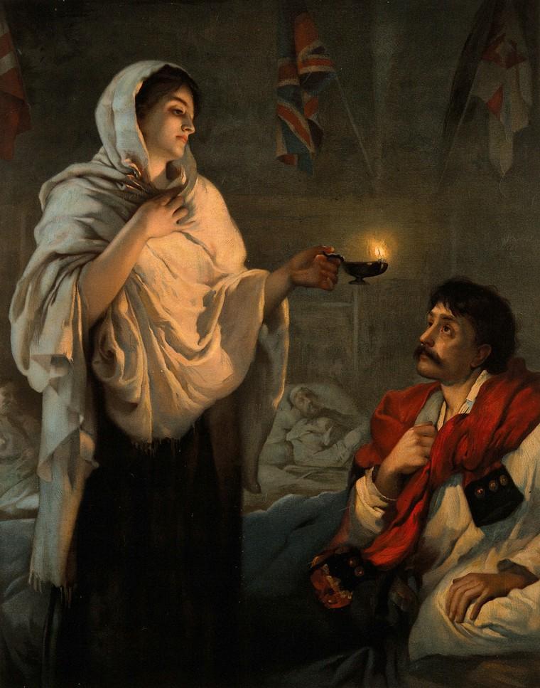 ציור של פלורנס נייטינגייל בודקת את מצבו של מטופל תוך כדי שהיא מחזיקה עששית